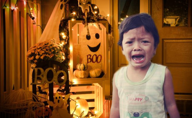Spooky Halloween Decoration Frightens Anxious Child