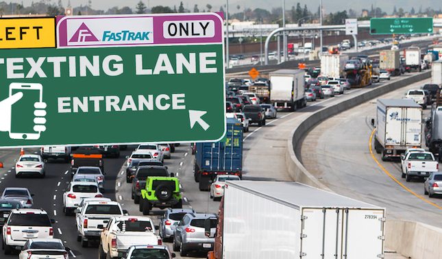 "Los Angeles to Create  Freeway ""Texting Lane"" To Accommodate Millenial Drivers"