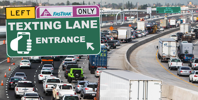 """Los Angeles to Create  Freeway """"Texting Lane"""" To Accommodate Millenial Drivers"""